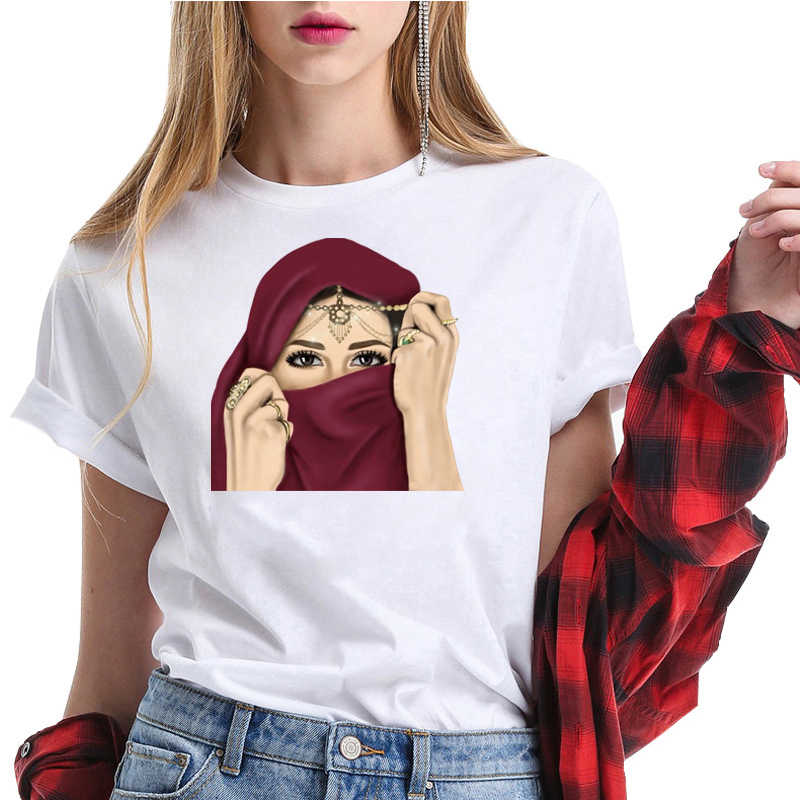 Retro della Maglietta di Lusso Donna In Hijab Viso Musulmano Islamico Grils Occhi T Camicia Harajuk Magliette E Camicette T-Shirt Design Estetico Delle Donne Tee camicia