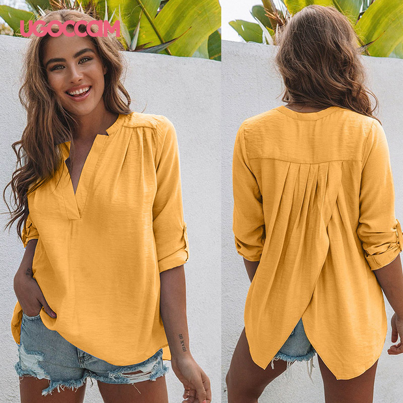 UGOCCAM V-Neck Sexy Blouse Clothes Women Autumn Long Sleeve Tops And Blouses Casual Women Shirts Blouses Tops Female Clothing