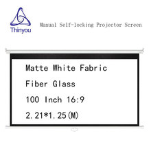 Thinyou Manual self-locking 100 inch 16:9 Projector Screen Matte White Fabric Fiber Glass Wall Mount Pull Down For Cinema Office