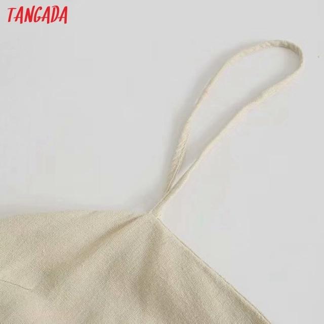 Tangada Women Pleated Cotton Linen Dress Sleeveless Backless 2021 Summer Fashion Lady Dresses 3H587 2