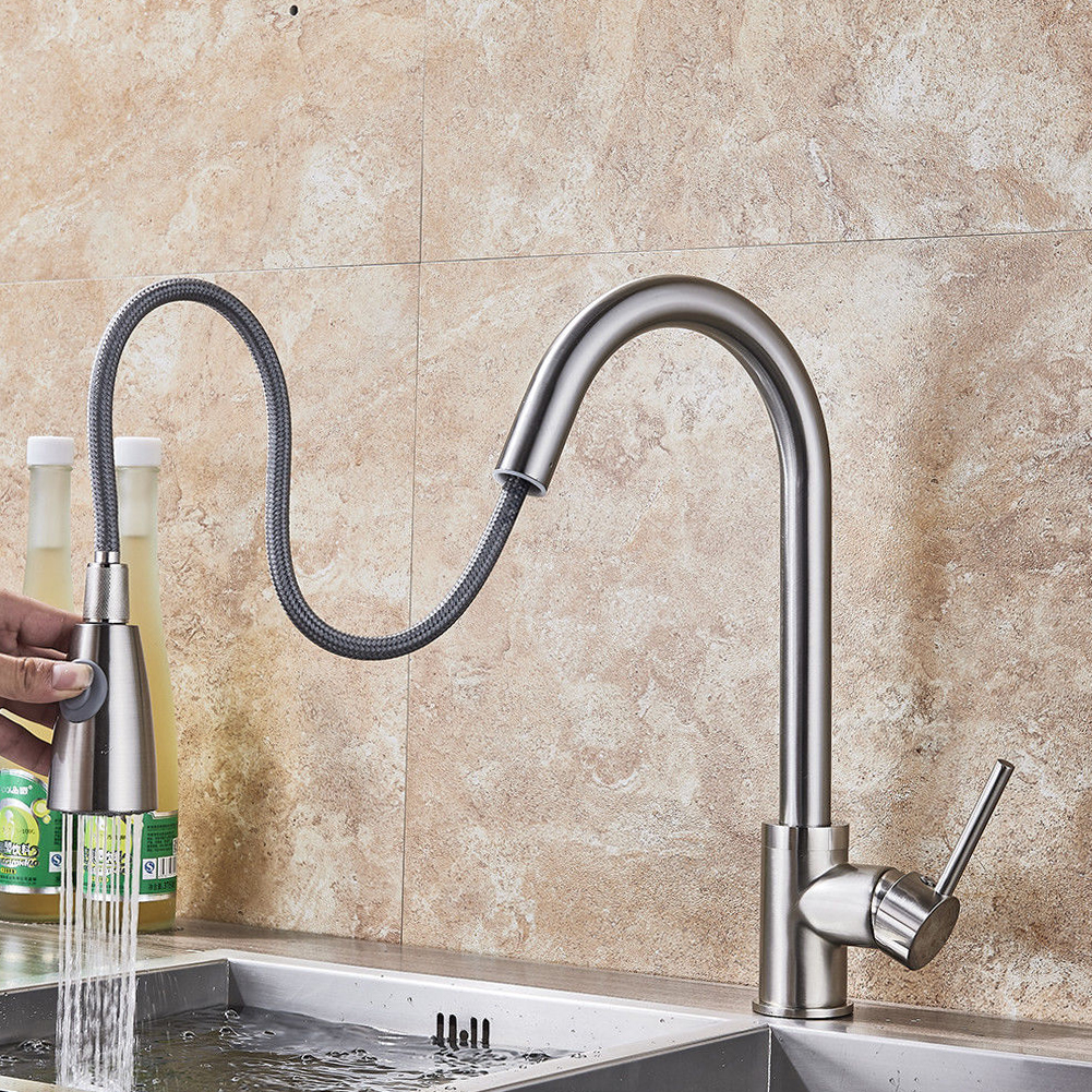 Tap Pull Out Brushed Nickel Stream Rotation Swivel Sink Single Hole Durable Mixer Kitchen Faucet Sprayer Spray Handle