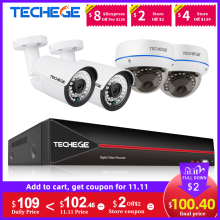 Techege 4CH 1080P H.265 POE NVR Audio Video System 2MP Indoor Outdoor IP Camera Waterproof Email Alert Video Surveillance System