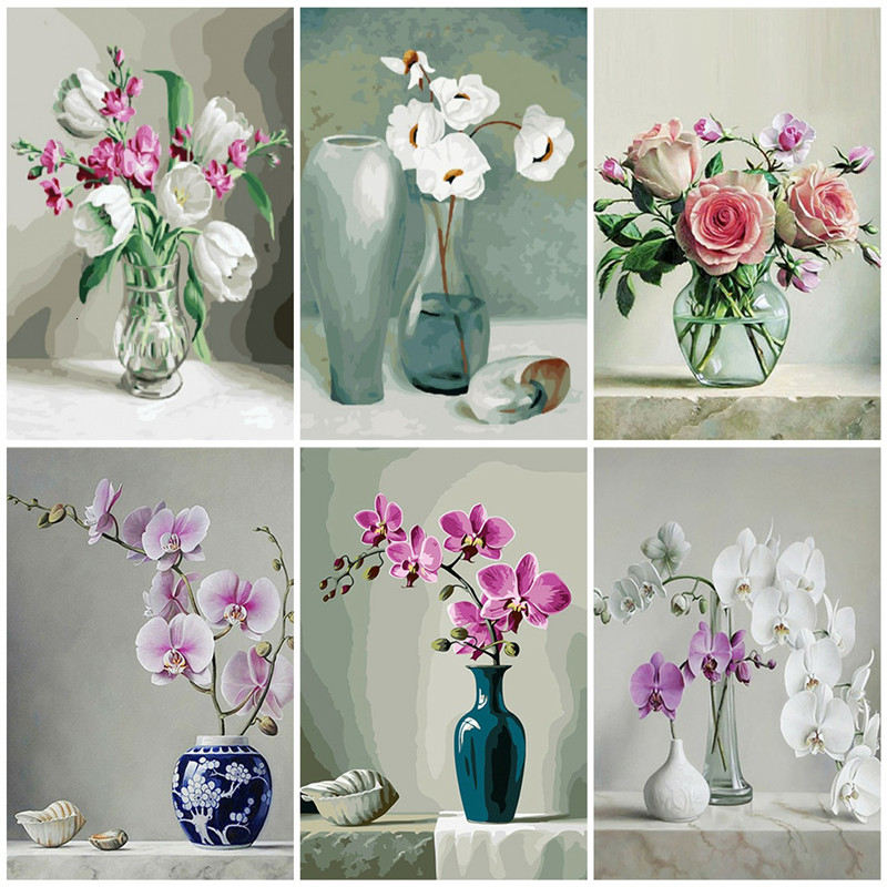 AZQSD DIY Unframed Oil Painting By Numbers Flowers Vase Pictures Canvas Painting For Living Room Wall Art Home Decor