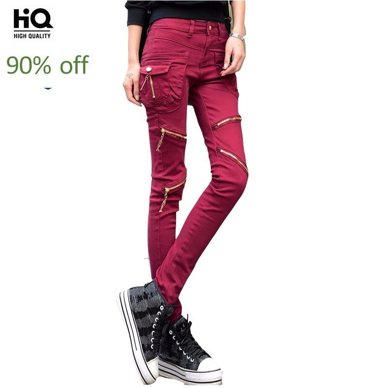 2020 Female Fashion Zippers Jeans Harem Pants Slim Fit Full Lengt Trousers Casual Streetwear Hip Hop Button Pockets Denim Pants