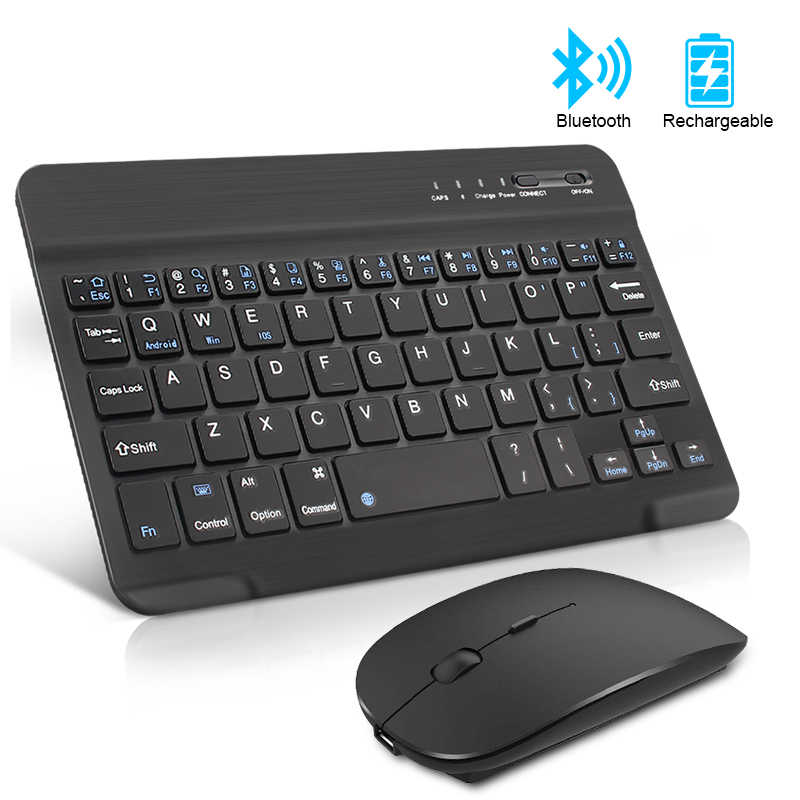 Keyboard dan Mouse Mini Isi Ulang Bluetooth Keyboard dengan Mouse Bersuara Ergonomis Keyboard untuk PC Tablet Ponsel