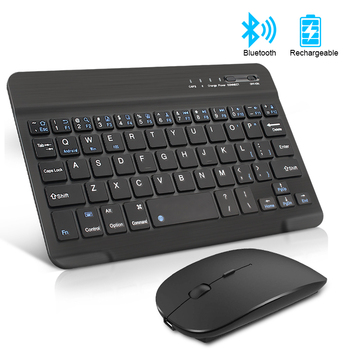 Wireless Keyboard and Mouse Mini Rechargeable Spainish Bluetooth Keyboard With Mouse Russian Keyboard For PC Tablet Phone
