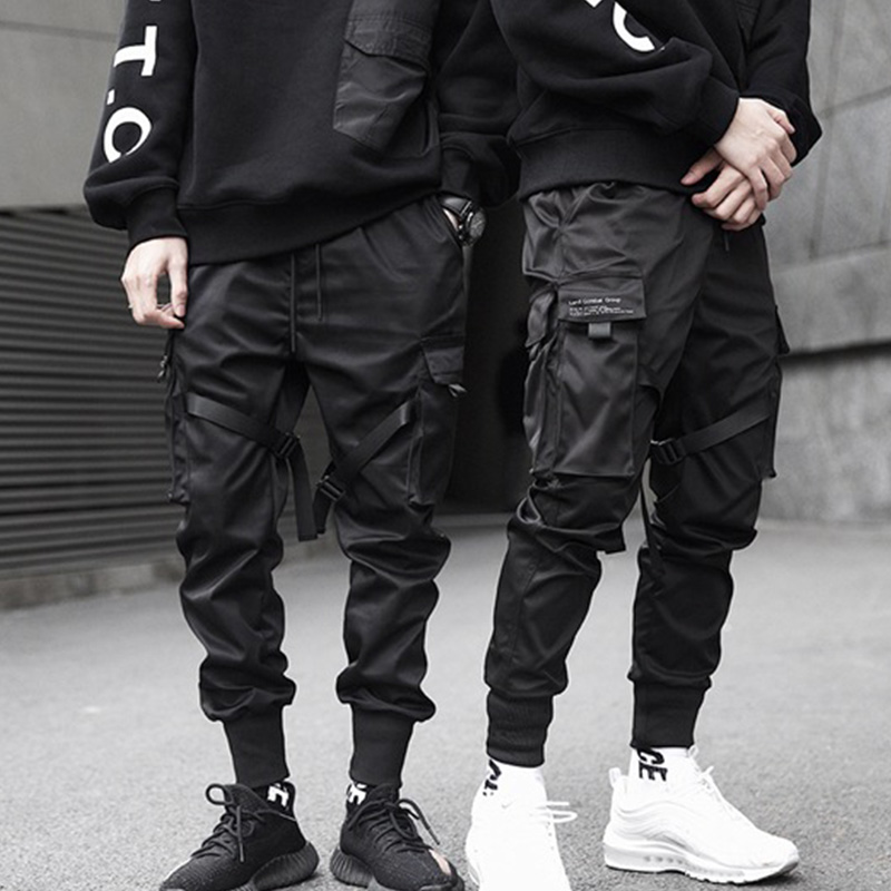 Hip Hop Boys Black Cargo Pants Multi-pocket Elastic Waist Harem Pants Men Streetwear Punk Trousers Jogger Men Tactical Pants