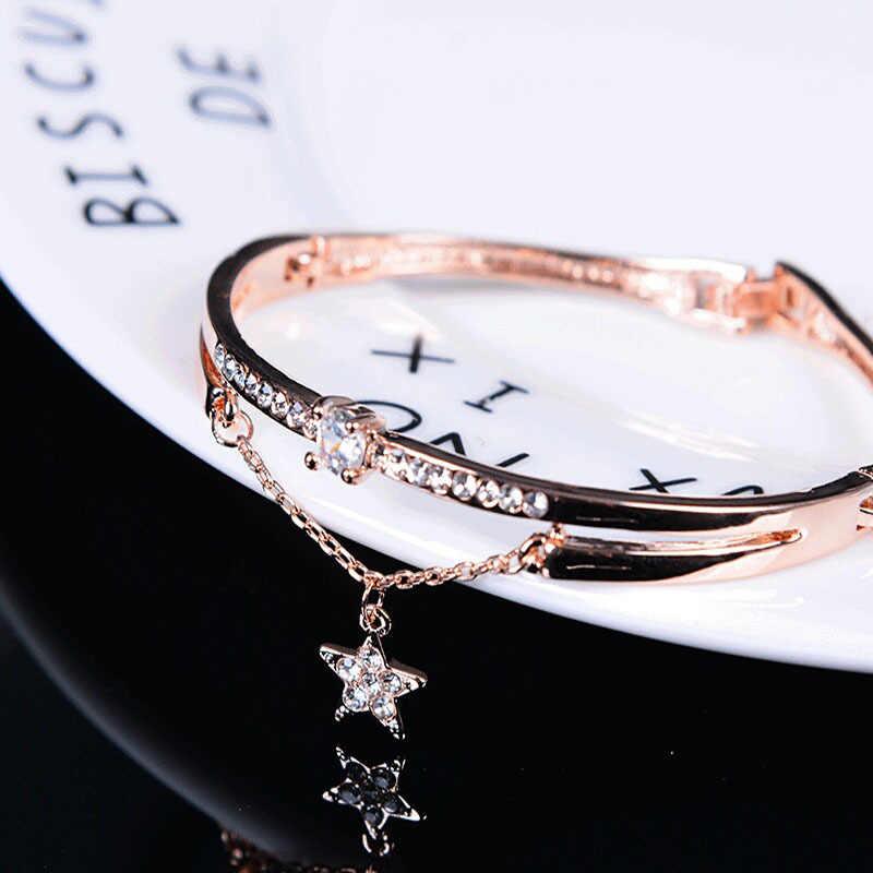 Luxury Famous Brand Jewelry Rose Gold Stainless Steel Bracelets & Bangles Female Heart Forever Love Charm Bracelet For Women