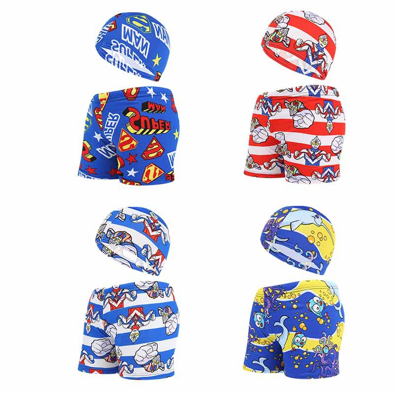 BOY'S Swimming Trunks Summer CHILDREN'S Swimming Trunks Cute Cartoon Boxers Beach Shorts With Swim Cap Set Yk4807
