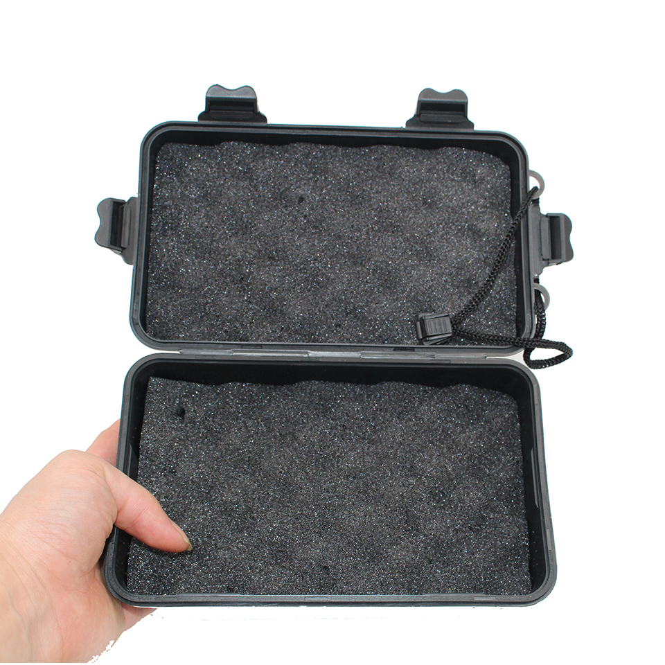Universal Waterproof Anti Fall Black Plastic Storage Box For Flashlight Light Torch Lamp Battery Charger Case Holder 20*11*4.5cm