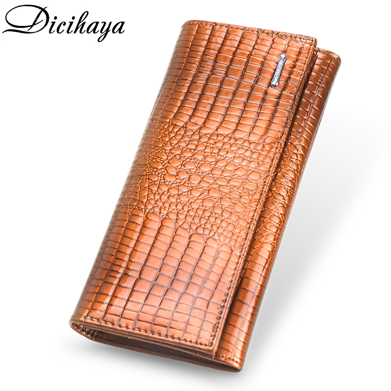 DICIHAYA Luxury Genuine Leather Womens Wallets Patent Alligator Bag Female Design Long Multifunctional Coin Card Holder Purses
