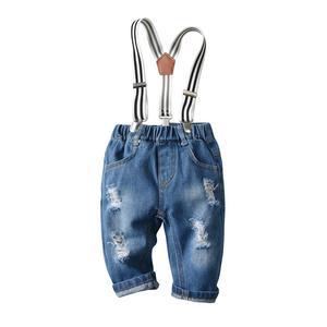 Image 5 - Джинсовая одежда для новорожденных мальчиков хлопковые клетчатые комбинезоны джентльменский нагрудник джинсовая одежда костюм наряд 6   24 м