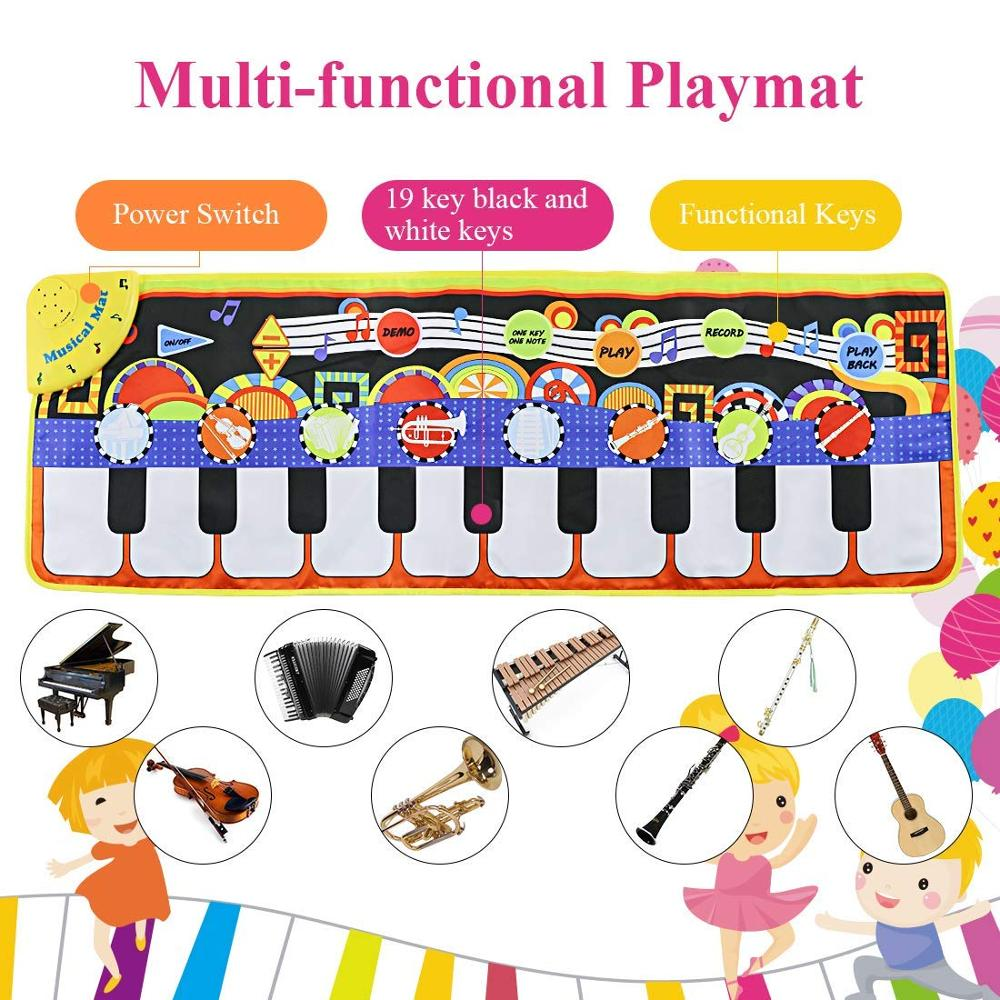 110x36cm Musical Piano Mat Baby Play Mat Toy Musical Instrument Mat Game Carpet Music Toys Educational Toys for Kids Xmas Gift | Happy Baby Mama