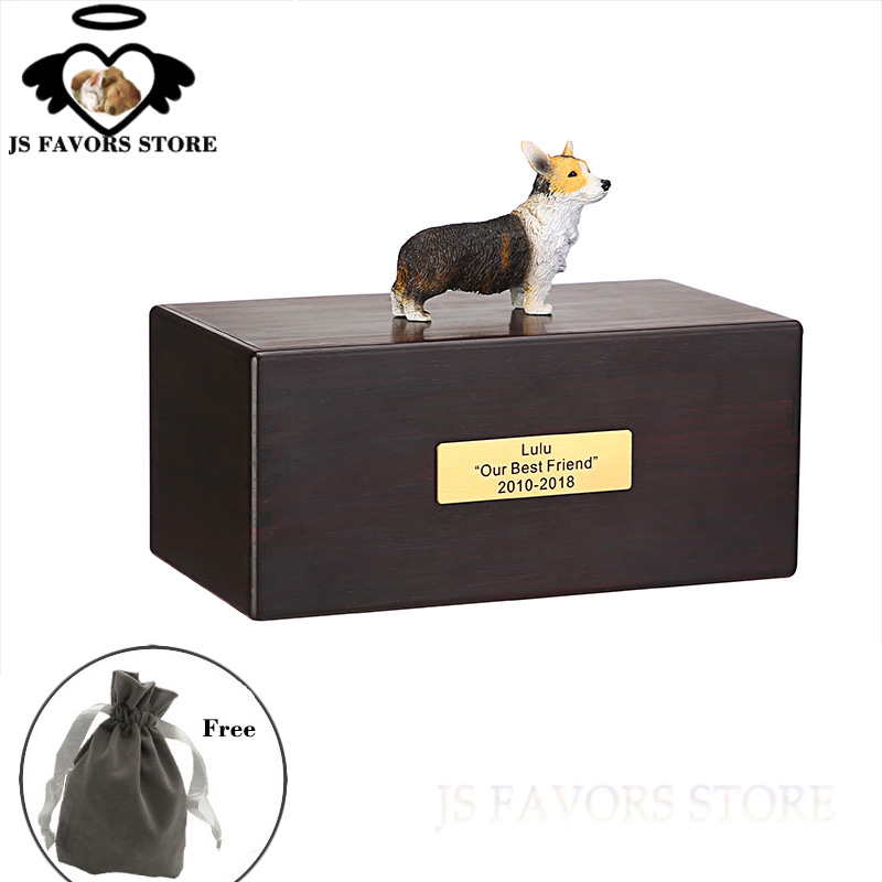 Free shipping 1pcs with doll custom letter moisture-proof pet dog  cremation funeral memorial cinerary caskets