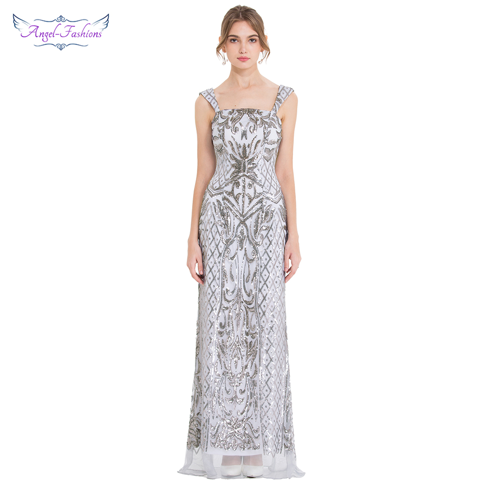 Angel-fashions Women's Art Deco Chic Evening Dresses V Neck Sequin Party Gown 424