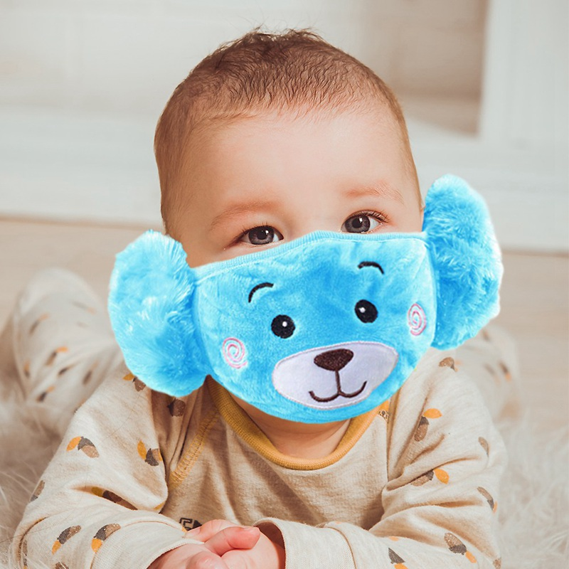 Children Washable Mask Lovely Bear Mouth Masks PM2.5 Kids Outdoor Ears Mouth Cover Soft Plush Warmer Reusable Filter Protective