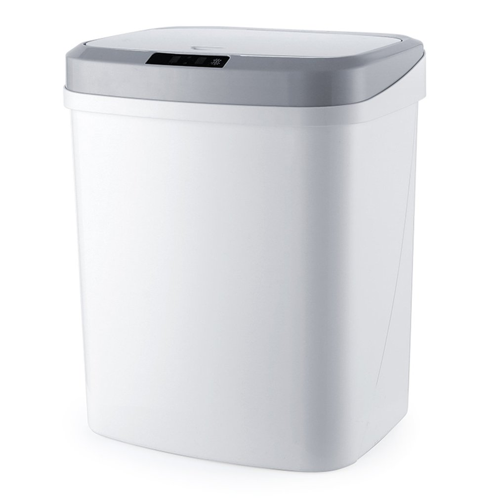 Intelligent Sensor Trash Can Household Mute Electric Cover Trash Can Charging Version Induction Plus Vibration Waste Bins     - title=