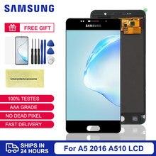 Регулировка яркости для Samsung A5 2016 ЖК-дисплей для Samsung Galaxy A5 2016 A510 A510M A510FD сенсорный экран дигитайзер сборка