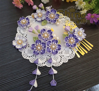 Japanese Style Hairpin Kimono Purple Cherry Blossom Headdress Lokita Tassel Side Clip Hair Accessories H