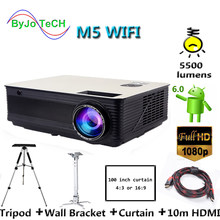 Poner Saund M5 WIFI Full HD проектор двойные HIFI колонки Android 6,0 с 10 м HDMI, настенный кронштейн и штатив M5W Vs led96 bt96