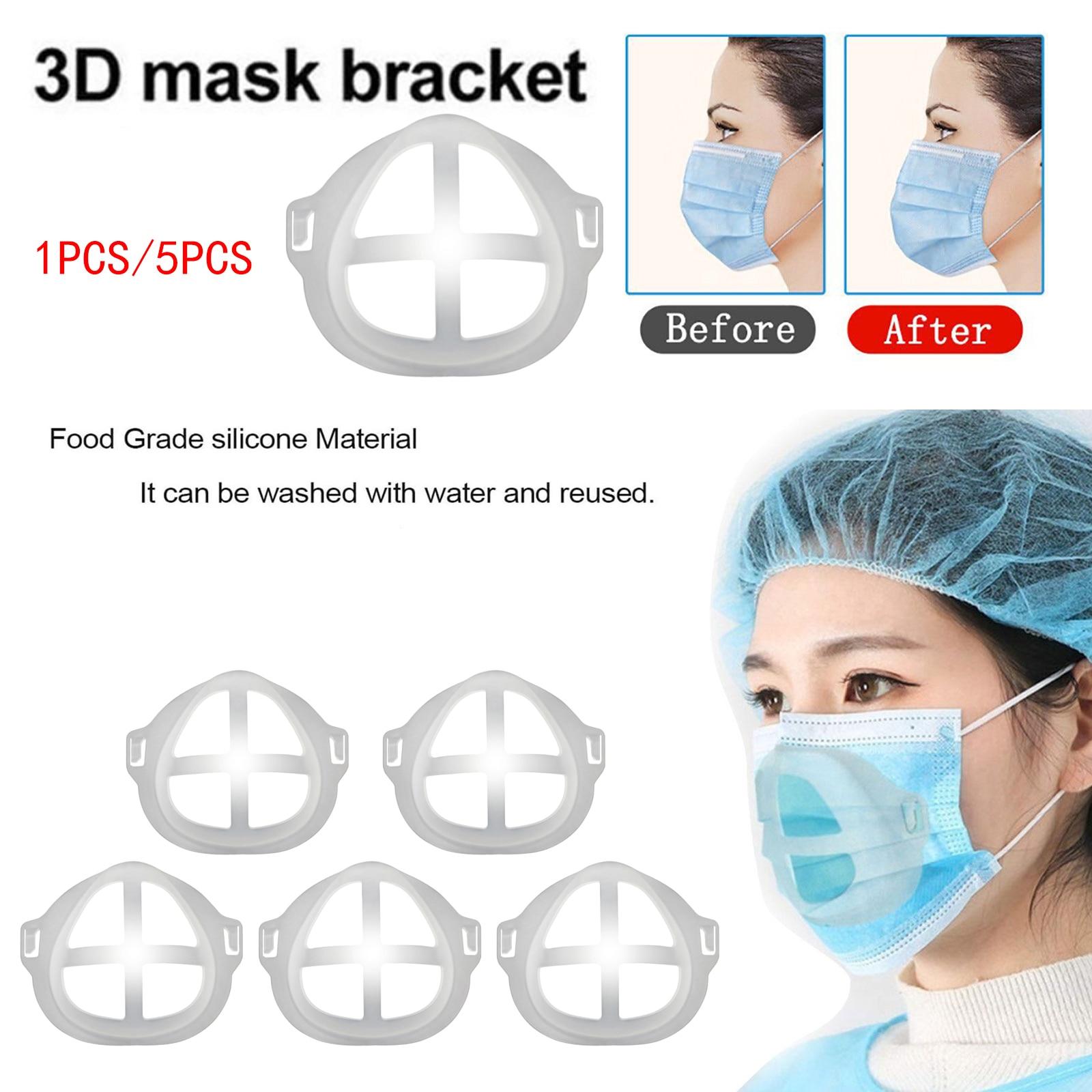 5 шт., 3D маска, кронштейн, внутренняя опора, держатель для маски, дышащая моющаяся Крышка для рта, пластиковый кронштейн, дышащая маска, поддер...