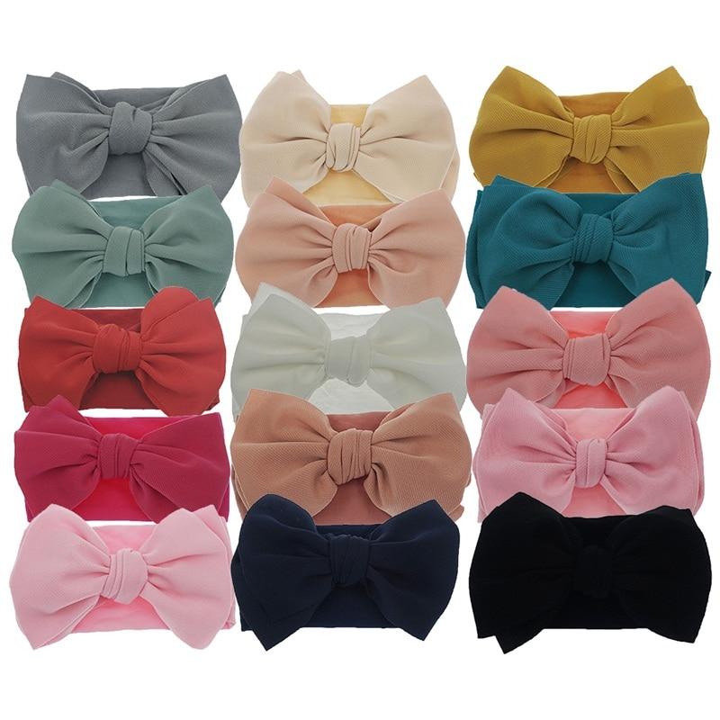 5 Pcs/lot Turban Bows Headband For Baby Headwraps 15 Colors Elastic Toddler Nylon Headwear Girls Hair Accessories Bow Headband