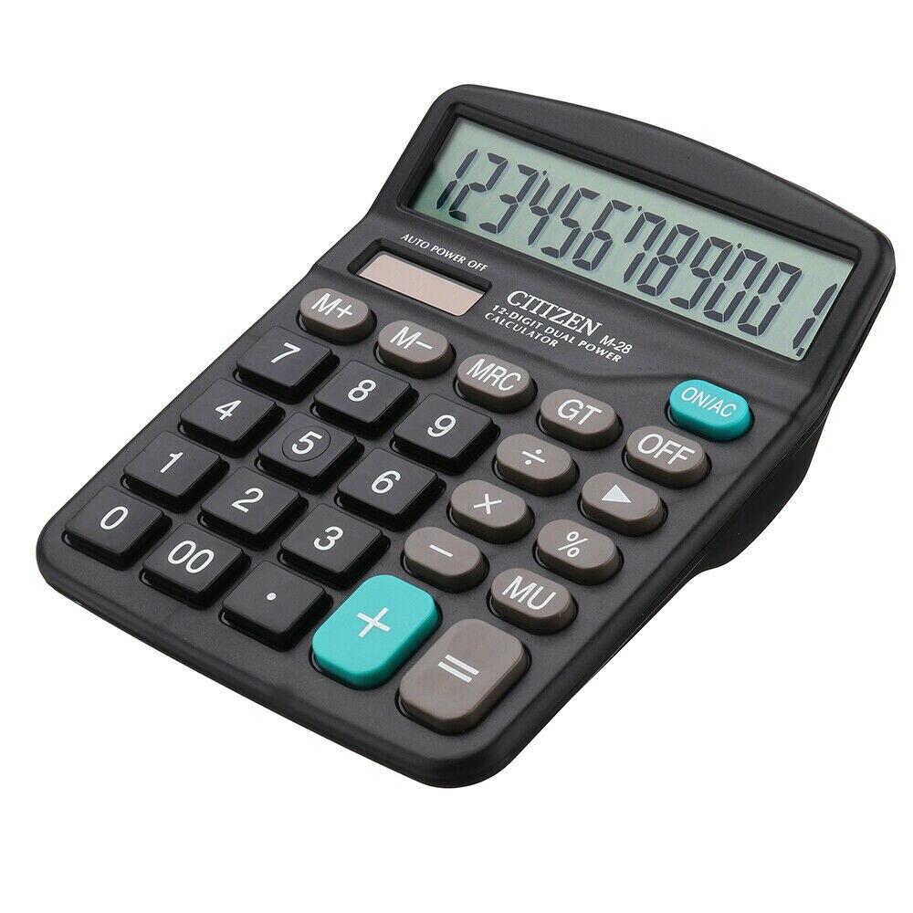 Солнечный Батарея Настольный калькулятор базовый 12-разрядный большой Дисплей офисные Бизнес