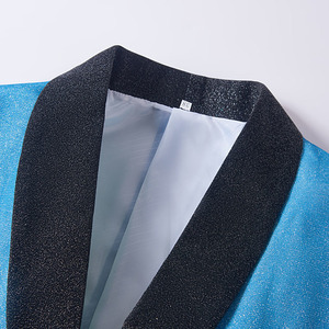 Image 3 - PYJTRL New Mens Artistry Gradient Color Shiny Sky Blue Blazer Night Club Stage Singer Prom Dress Suit Jacket Wedding Costume