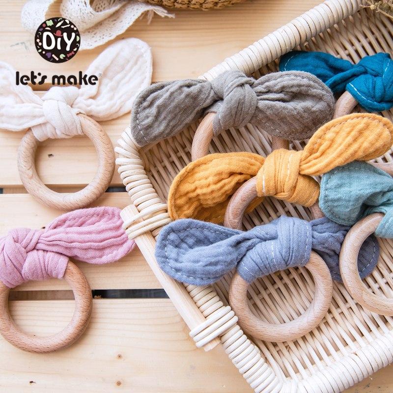 Let's Make Wooden Teethers 1pc Rabbit Ear Baby Teething Ring Baby Bib Saliva Towel Food Grade Silicone Beads Nursing Bracelet