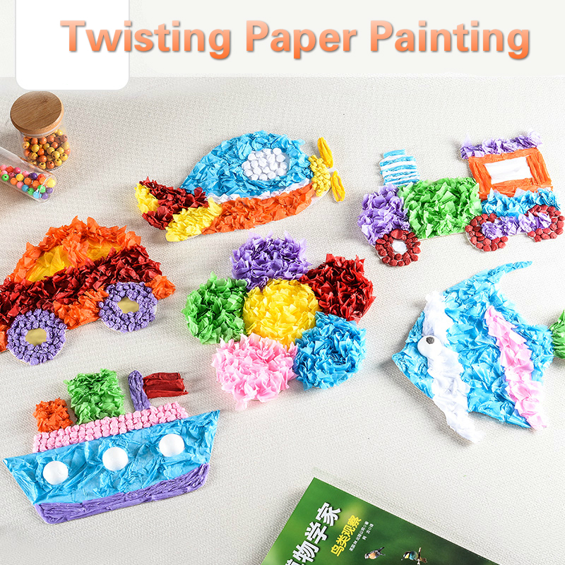 DIY Transportation Craft Toys For Children Rainbow Paper Girl Handicraft Kindergarten Funny Arts Craft Kids Gift For Baby Boy