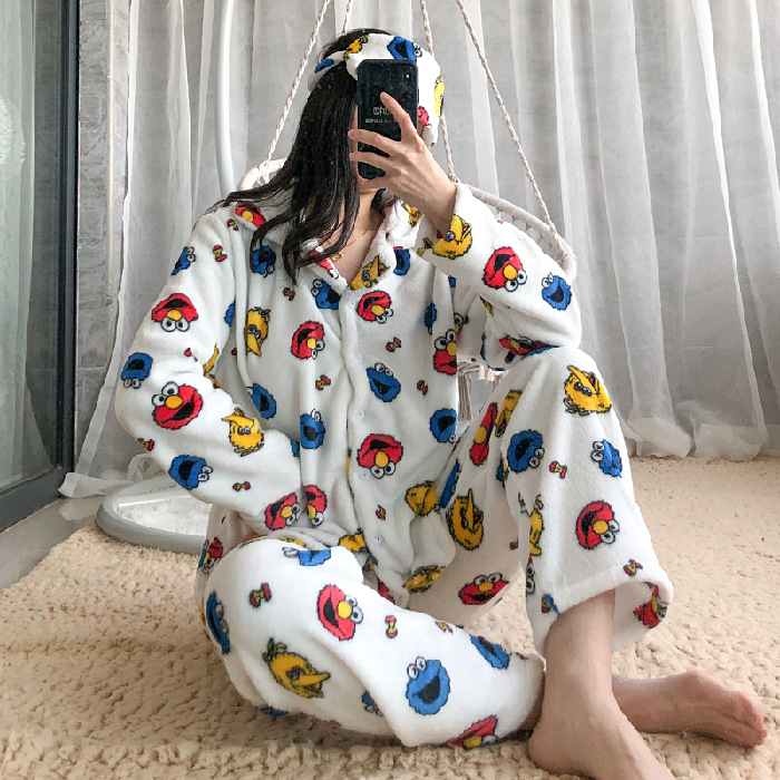 Coral Velvet Pajamas Female Spring Autumn & Winter Flannel Long Sleeve Sweet Korean-style Crayon Two-Piece Set Home Wear