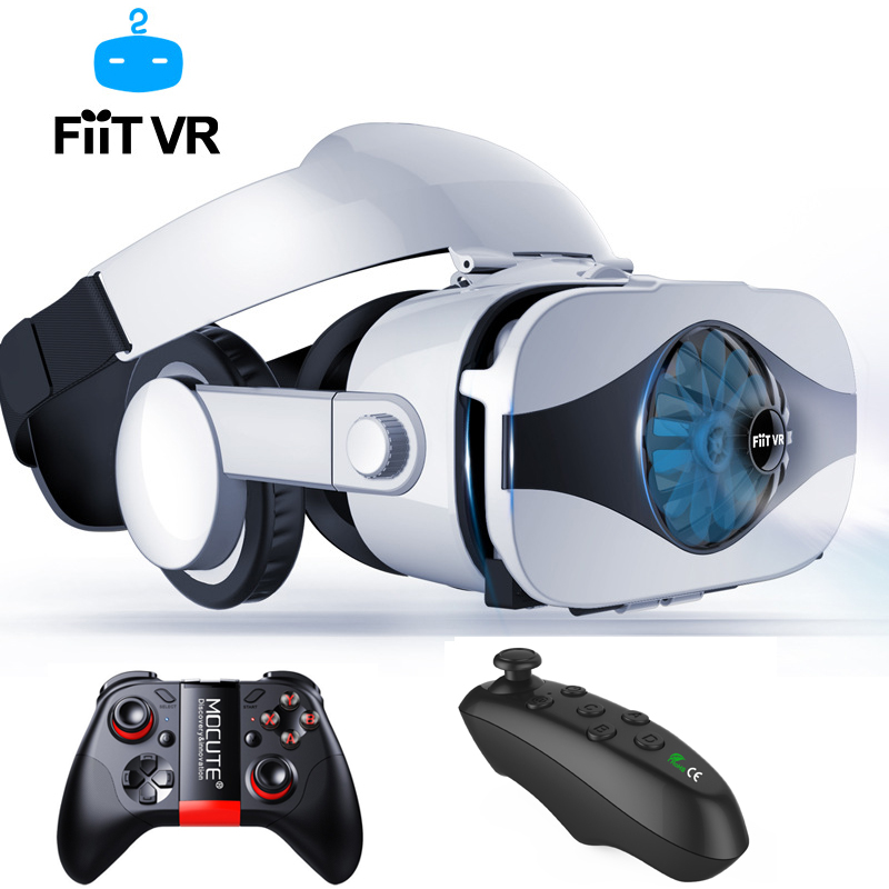 Fiit VR 5F headset version Fan cooling virtual reality glasses 3D glasses Deluxe Edition helmets smartphone Optional controller image