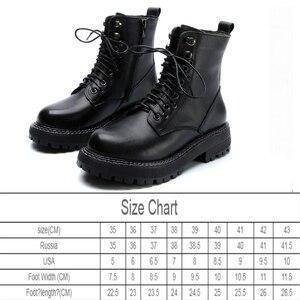 Image 2 - Véritable cuir Martin bottes femmes Style britannique 2020 nouveau rétro tête couche peau de vache bottes courtes dames décontracté femmes bottes printemps