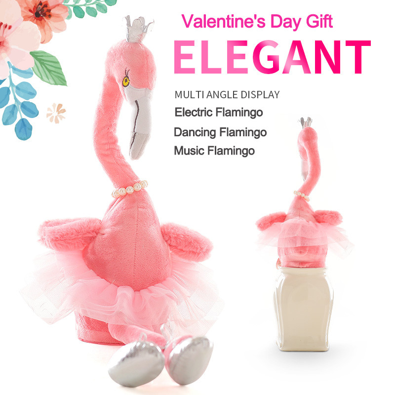 50cm Pink Girl Heart Flamingo Doll Electric Plush Toy Dancing Flamingo Plush Toy Music Flamingo Plush Toy For Valentine's Gift