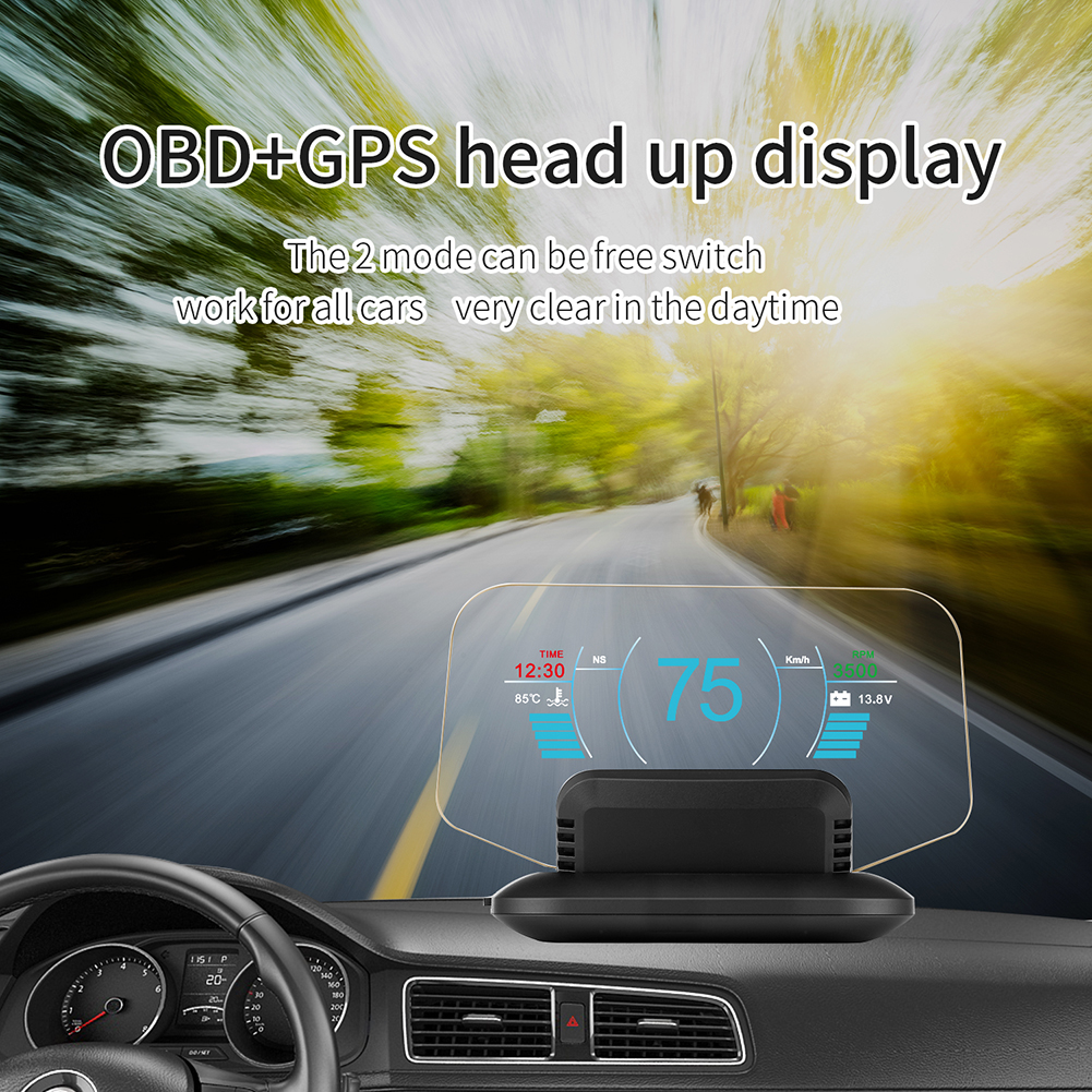 2019 New Beand HD Color LCD Display Car HUD Head Up Display OBD2 GPS Head Display Car Speed Projector Speedometer Car Detector
