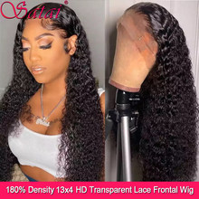 Indian 13x4 Lace Frontal Wig 180 Density Curly Human Hair Wig Kinky Curly Lace Front Wig Pre Plucked Lace Front Human Hair Wigs