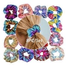 8pcs fashion set glitter scrunchie colorful elastic hair tie