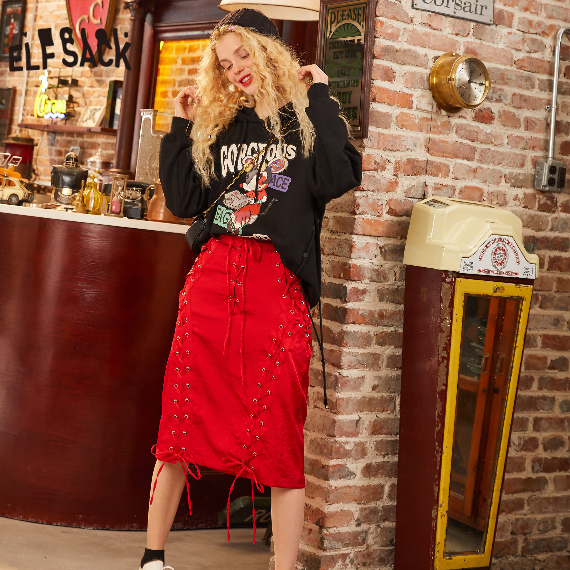 ELFSACK Red Solid Lace Up Empire Waist Satin Casual Skirt Women 2020 Spring New Drawstring Ladies Knee Length Daily Skirts