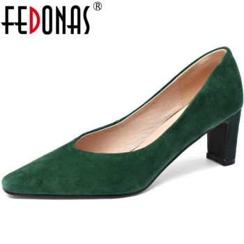 FEDONAS Solid Color Pointed Toe Women Pumps 2020 Fashion Elegant Basic Shoes Spring Summer Shepskin Leather Shoes Woman