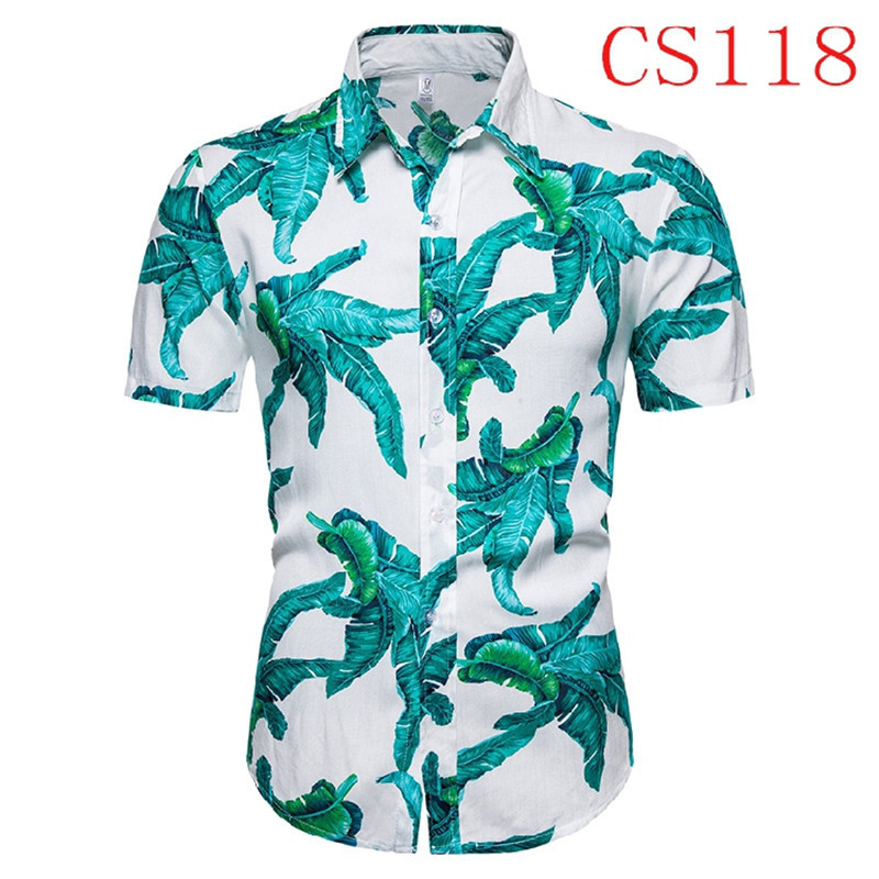 2020 New Summer Mens Short Sleeve Beach Hawaiian Shirts Cotton Casual Floral Shirts Regular Plus Size 3XL Mens Clothing Fashion