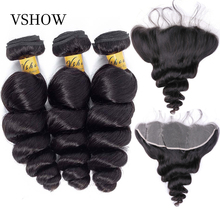 VSHOW Brazilian Loose Wave 3 Bundles With Closure Frontal 130% Human Hair Weave Remy Extensions