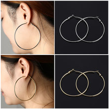 1Pair Punk Large Metal Dangle Earrings Round Hoops Silver Gold Circle Ear Stud Jewelry Drop Hook Tools Accessories 10cm/9cm/7cm(China)