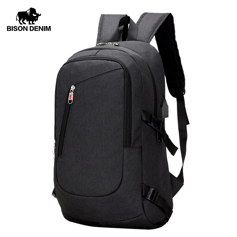 BISON DENIM Fashion Men's Backpacks Large 17 Inches Laptop Waterproof Travel Bags For Men School Bag W2730