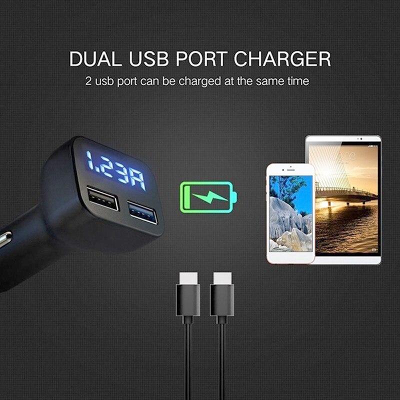 monitor de temperatura A0127 Term/ómetro digital LED para coche volt/ímetro bater/ía cargador USB