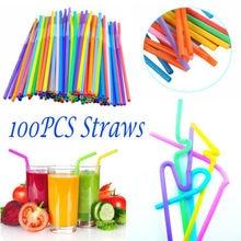 100 шт Удлиненные гибкие пластиковые соломинки для питья вечерние бар питьевые принадлежности