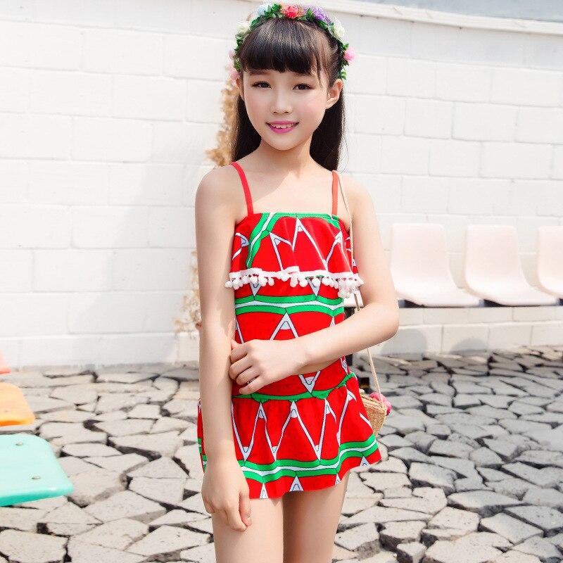 New Style KID'S Swimwear Women's Split Type Big Boy Princess Dress-Comfortable Triangular Sun-resistant Swimwear Nt493147