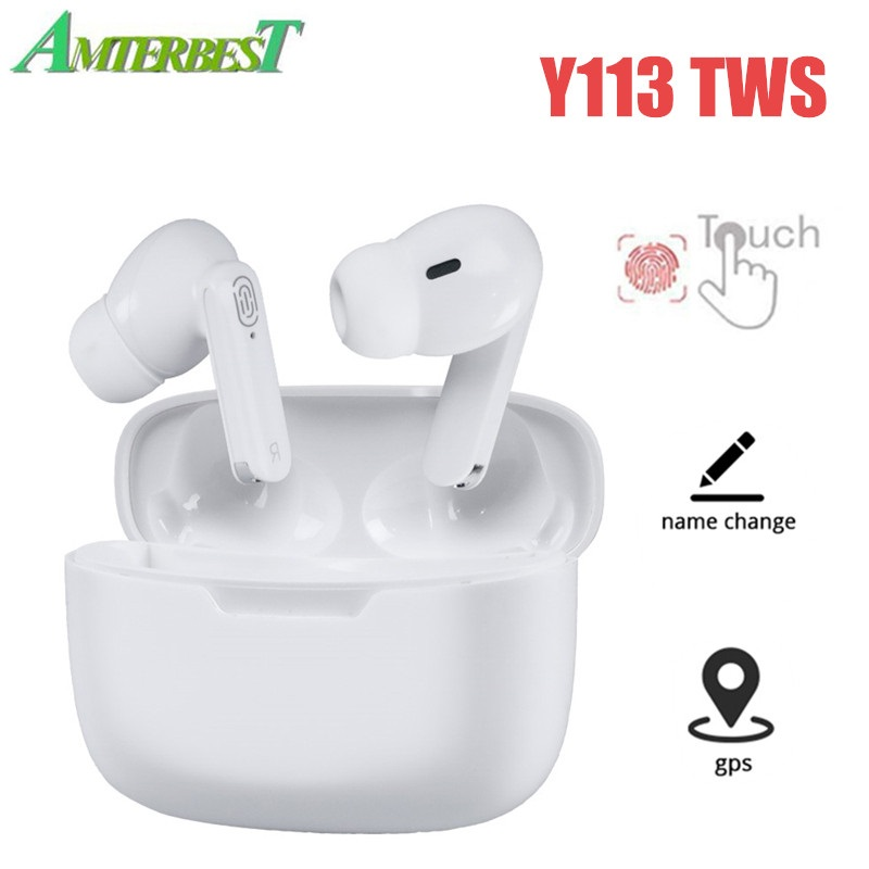 AMTERBEST Y113 TWS Wireless Headphones Bluetooth Earphones with Microphone Touch Control Sport Headset Earbuds for Ios Android
