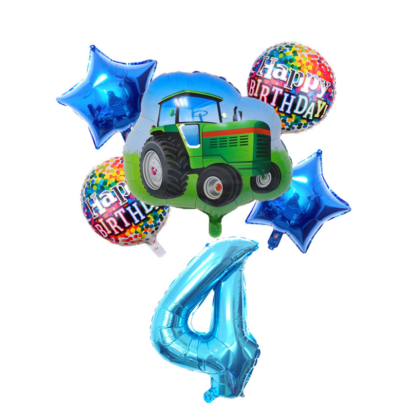 6pcs Cartoon Car Ballons Tractor Globos 32inch 1 2 3st Number Children Boy Gifts Birthday Party Holiday Decorations Kids Balls-2