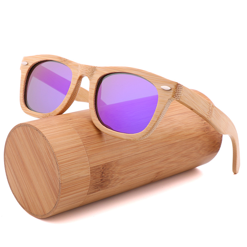 2020 Retro Handmade Bamboo Wood Sunglasses Square Ladies Polarizing UV400 Men's Polarized Driving Sunglasses For Men and Women