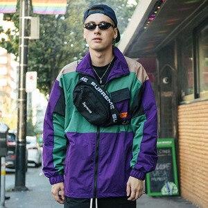 Image 5 - Men Hip Hop Streetwear Jacket Coat Retro Color Block Patchwork Harajuku Jacket Windbreaker Oversized Track Jacket Pocket Autumn